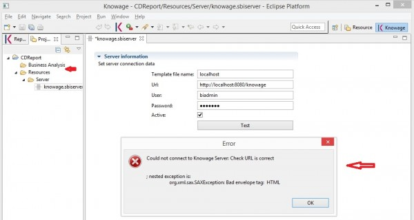 Knowage Designer : Could not connect to Knowage Server and Business