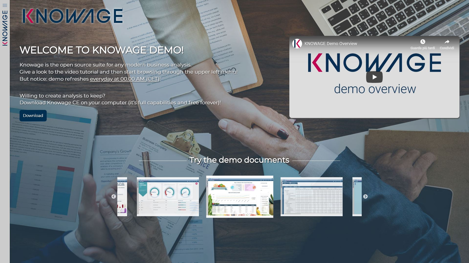 Knowage online demo homepage